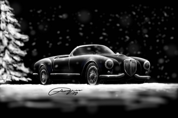 Lancia Aurelia B24 spider illustration